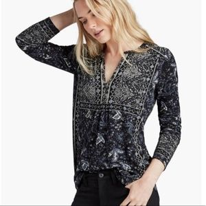 Lucky Brand Placed Boho Peasant Top SZ S
